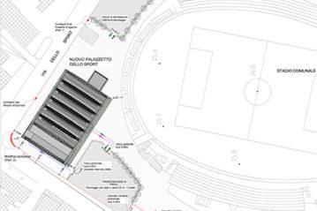 Collocazione del palazzetto nel centro sportivo
