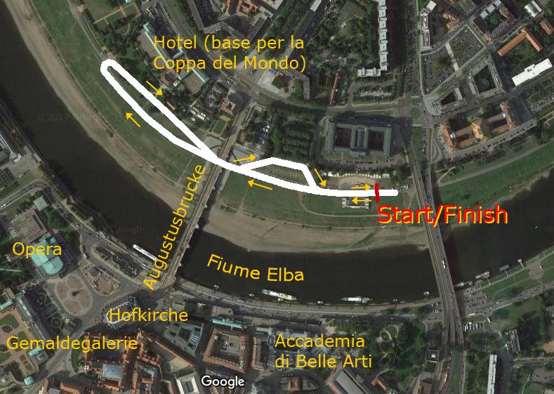 Il tracciato della pista di sci da fondo di Dresda, riportato su un'ortofoto tratta da Google Maps