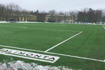 Casteldebole (BO), centro allenamento del Bologna FC1909Campo in erba sintetica dopo la nevicata