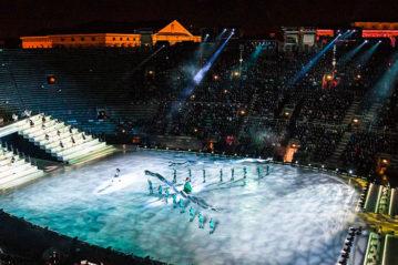 L'Arena di Verona trasformata con la superficie di ghiaccio