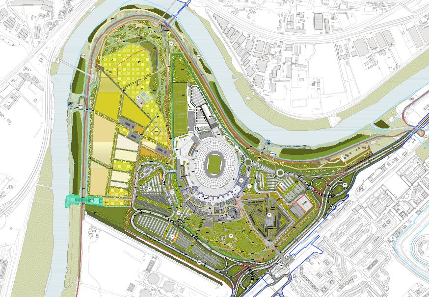 Planimetria di progetto dell'area di Tor di Valle