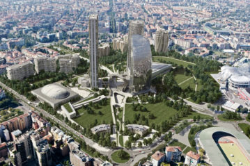 Rendering dell'area di Citylife a Milano