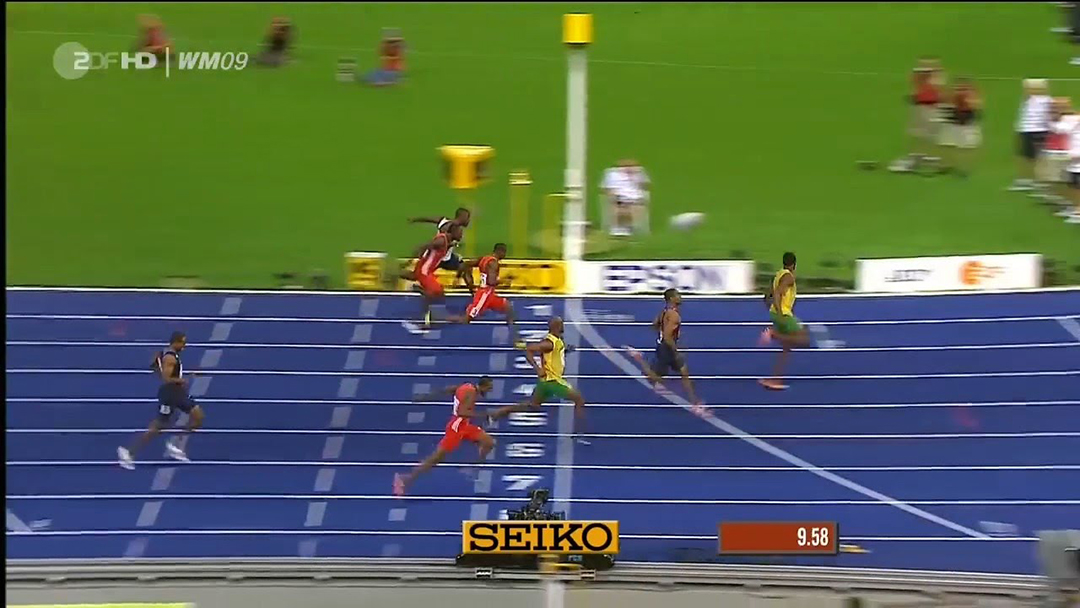 Un frame del fotofinish che ha registrato il record di Usain Bolt  il 16 agosto 2009