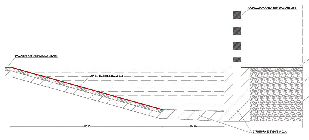 details of the high jump platform in section