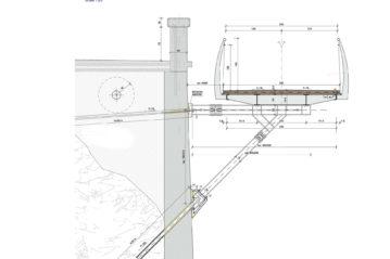 sezione passerella con puntone e tirante bordo muro