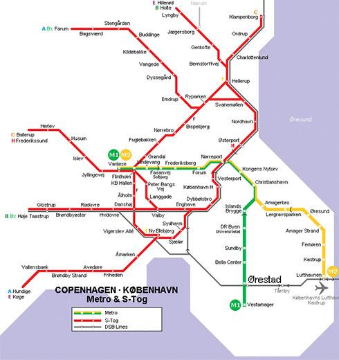 mappa della metropolitana di Copenaghen