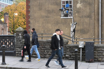 Bristol, UK: Banksy, Naked Man, 2008 (Ph. 1000 Words / Shutterstock, 2015).