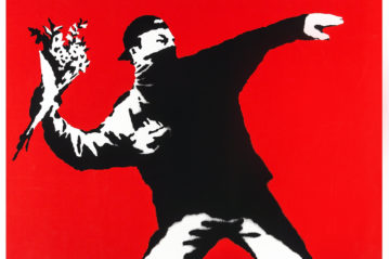 Banksy, Love Is In the Air (Flower Thrower) (2003), 50x70 cm, limited edition screenprint (Butterfly Art News Collection).
