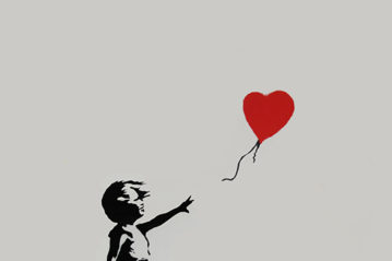 Banksy, Girl with Red Balloon (2004), 65x50 cm, serigrafia in edizione limitata (Butterfly Art News Collection).