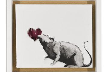 Banksy, Rat and Heart  (2015), 52,5x57,8 cm, pittura a spray e emulsione su tela (© Artificial Gallery, Antwerp).