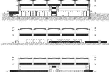 Prospetti e sezione della tribuna