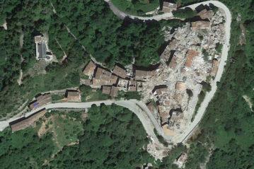 Centro storico di Arquata del Tronto (Google Earth)
