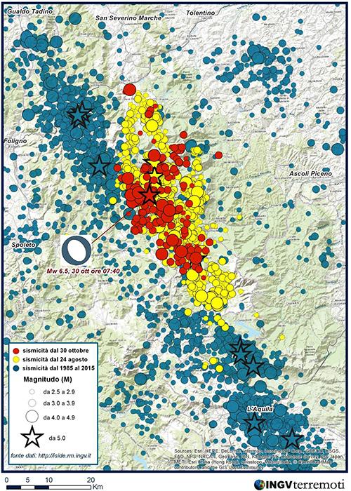 INGV: l'area dei terremoti del 2016