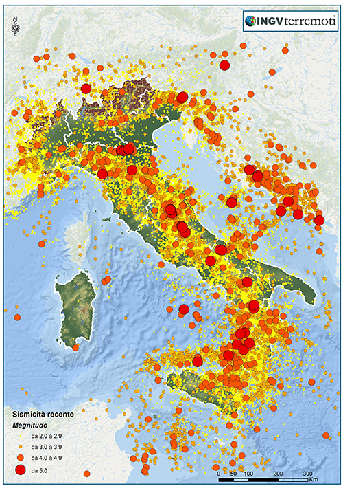 INGV: terremoti rilevati dal 1984 al 2014