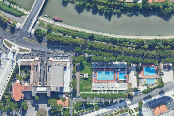 Vista zenitale del complesso al Foro Italico (Google Earth)