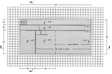 Piscina attrezzata per uso idrochinesiterapico: pianta