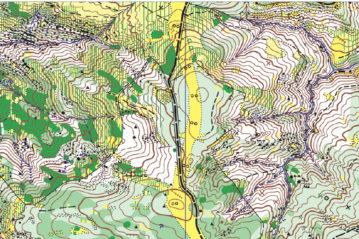 Una mappa in uso per le gare di orienteering