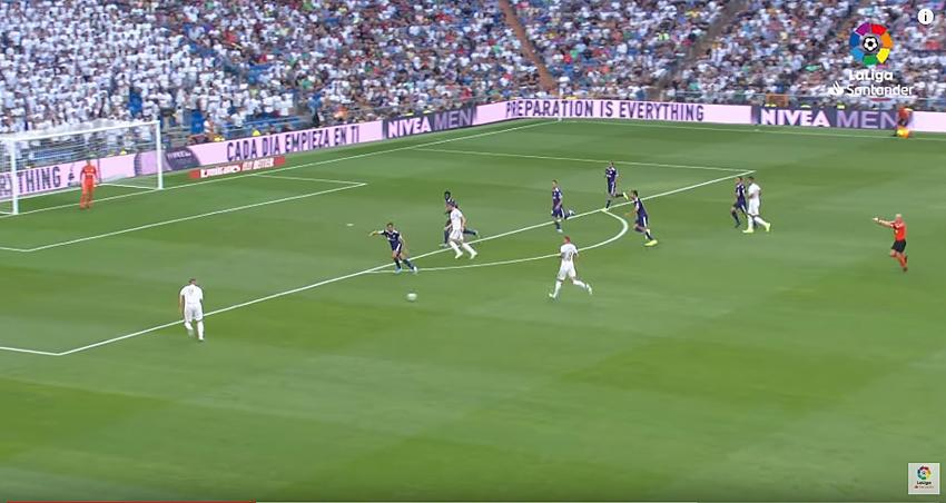 Frame dal video della partita Réal Madrid - Valladolid del 24 agosto 2019 (fonte Liga)