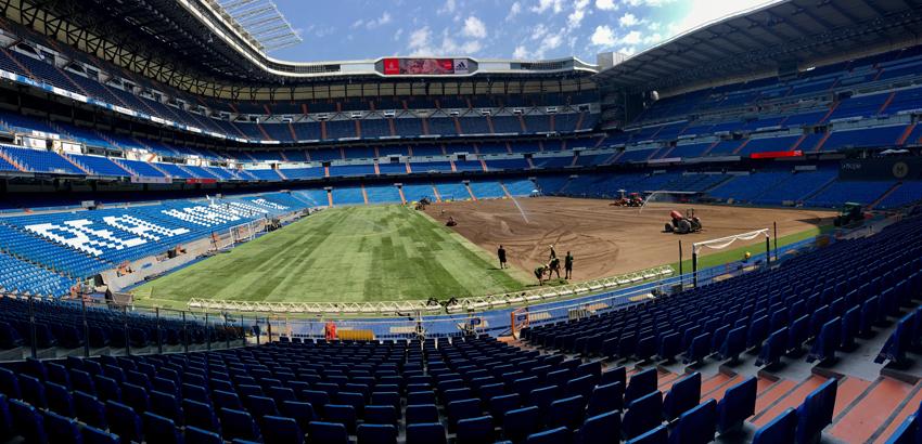 I lavori in corso la scorsa estate sul terreno del Bernabéu