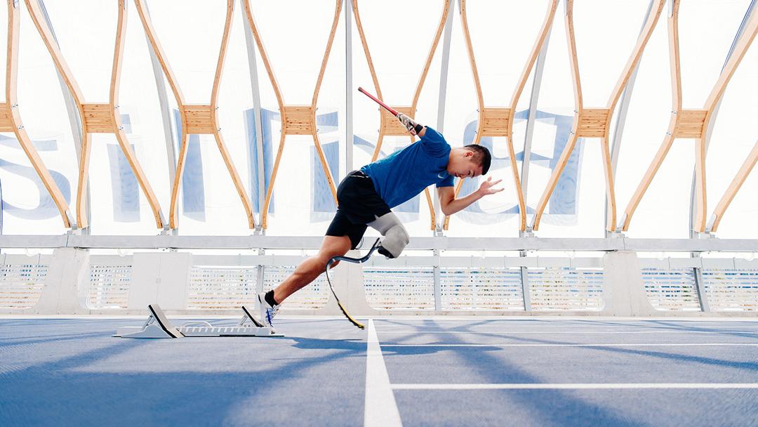 Il Brillia Running Stadium di Tokyo, con il percorso della pista paralimpica realizzato nell'ambito del programma Nike Grind