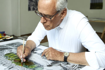 Klaus Littmann colora il disegno di Peintner (foto Emmanuel Fradin)