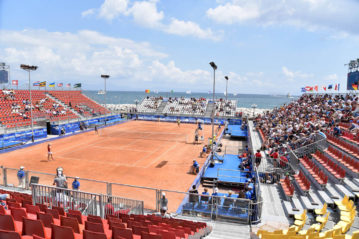 Il campo temporaneo al Circolo del Tennis allestito epr la finale femminile dell'Universiade 2019 (Pool Fotografi Universiade Napoli 2019)