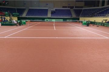 Tappeto Sportflex M della Mondo a Tiblisi per i preliminari Coppa Davis del 2016.