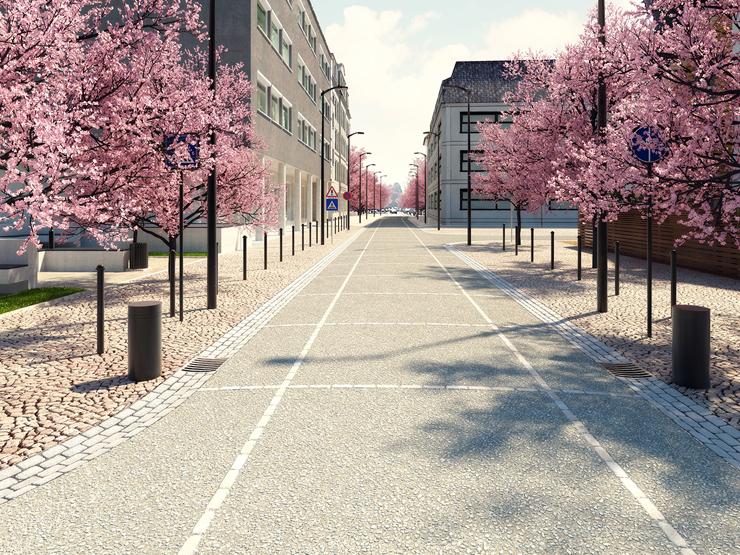 Pavimentazioni in calcestruzzo architettonico: MAPEI COLOR PAVING®, sistema studiato per realizzare pavimentazioni dall'effetto naturale ghiaia a vista.