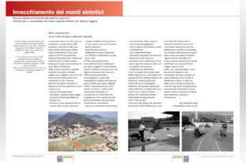 """Le pagine di introduzione alla pubblicazione su tsport """"Invecchiamento dei manti sintetici"""" firmata da Gianfranco Bendi."""