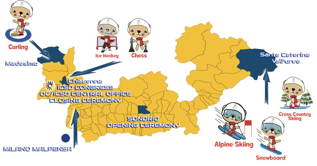 Mappa delle località, illustrate con la figura della mascotte ufficiale.