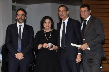 Con il Sindaco e il Presidente del Consiglio Comunale, i figli di Giorgio Squinzi, Veronica e Marco.