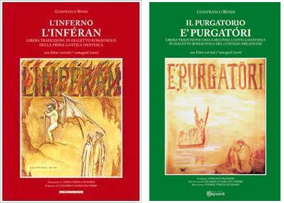 Le copertine delle prime due parti della Divina Commedia in dialetto romagnolo scritte da Gianfranco Bendi.