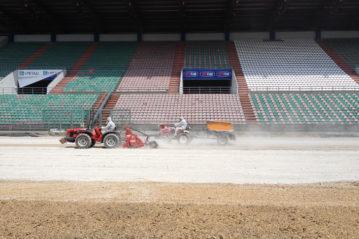 Lavori al Mapei Stadium di Reggio Emilia.