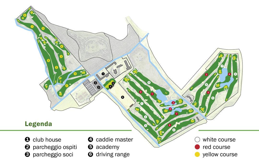 Pianta del Golf Club della Montecchia.