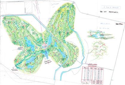 Schizzo di progetto del campo da golf.