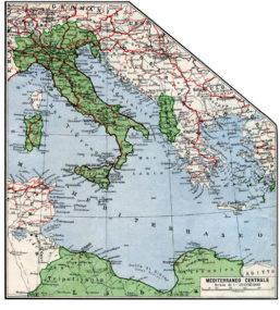 L'Italia e le sue colonie evidenziate in verde in una carta dell'Istituto Gegrafico De Agostini stampata nel 1939. Collezione privata.(Clicca per ingrandire)