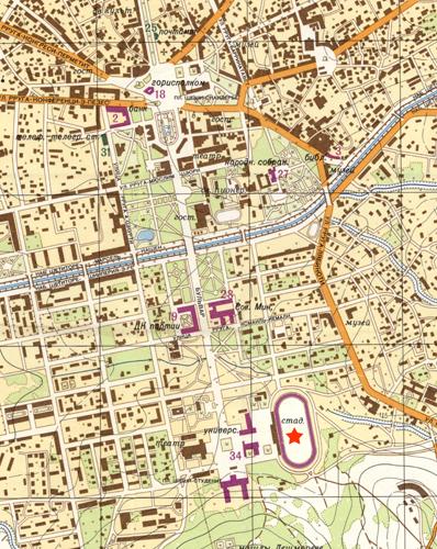 Un dettaglio della mappa precedente: si osserva ancora l'asse monumentale che dal centro di Tirana conduce allo Stadio (contrassegnato con una stella) attraverso il quartiere-giardino.