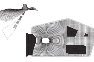 Schema prospettico e pianta del controsoffitto ondulato