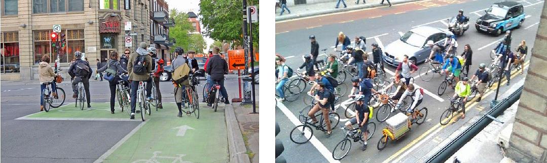 Attestamento avanzato delle biciclette ai semafori, in alcune esperienze all'estero (dal documento Strade aperte).