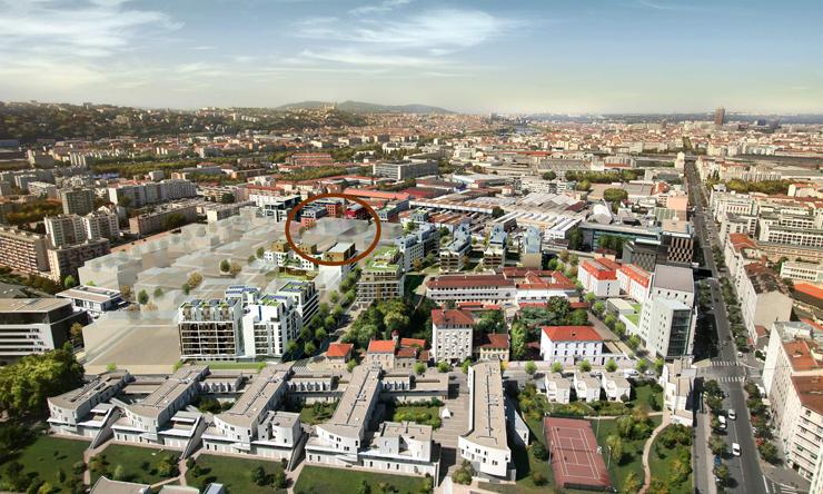 Inserimento nel panorama della città di Lione.
