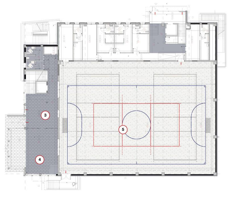 3) ingresso e reception; 4) sala ristoro/bar; 5) area di gioco (leggermente sopraelevata), affiancata da spogliatoi (clicca per ingrandire).