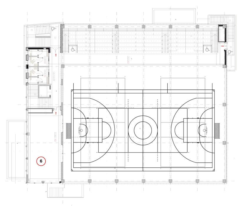 6) sala conferenze; a questo livello sono disposte anche le tribune (clicca per ingrandire).