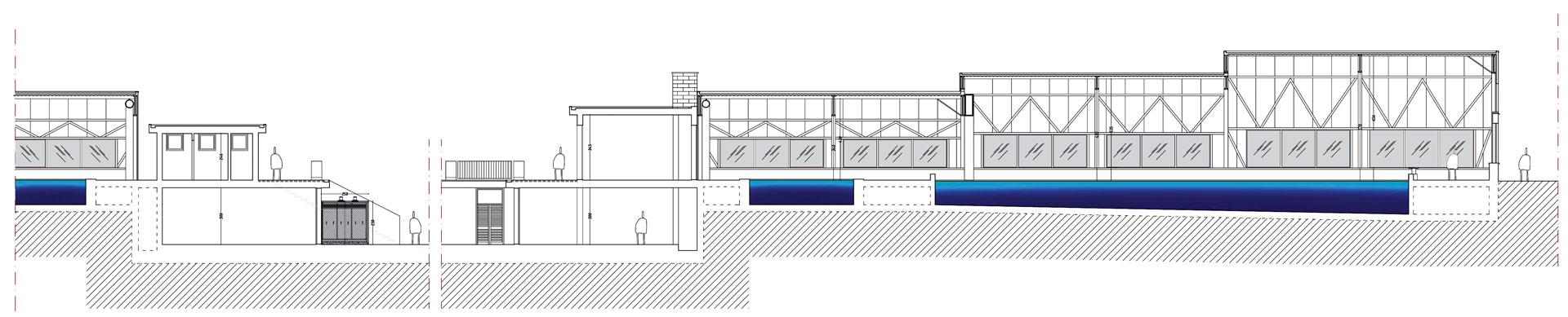 La sezione longitudinale mostra la diversa altezza delle campate mobili