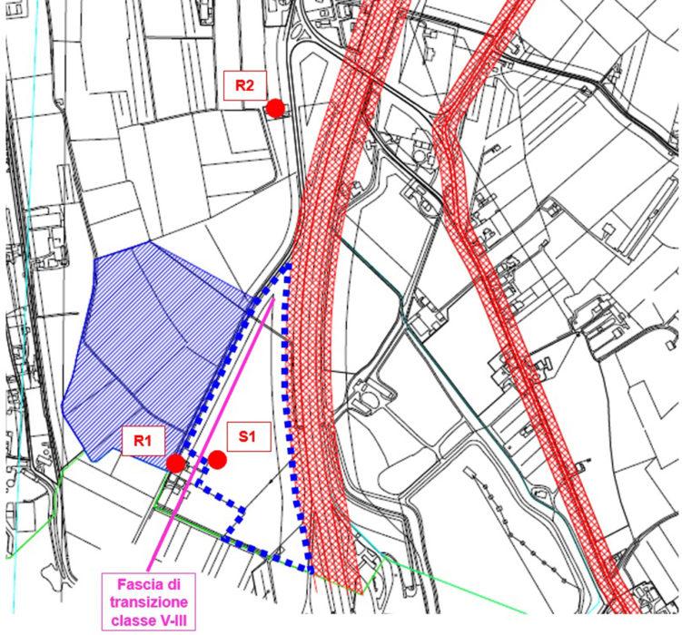 Stralcio dal Piano Comunale di Azzonamento Acustico. In rosso i punti di indagine fonometrica.