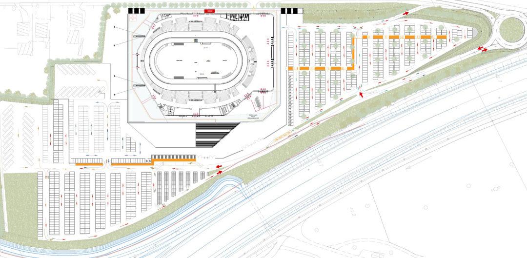 Planimetria generale del velodromo e delle aree circostanti.