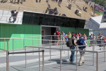 Rampa per superare il piano dell'impianto sportivo da quello dell'area esterna.