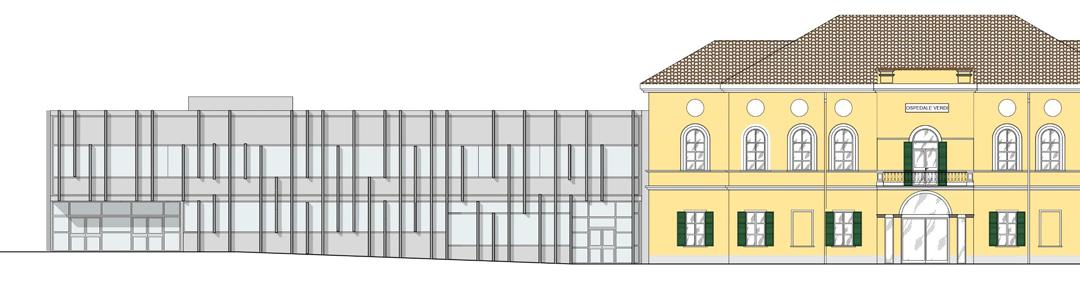 Prospetto della villa e dell'edificio accoglienza.