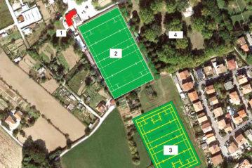 1) spogliatoi esistenti; 2) campo esistente in erba naturale; 3) nuovo campo in erba sintetica; 4) parco comunale Scarpellini.