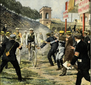 Tavola di Achille Beltrame per la copertina della Domenica del Corriere del 6/13 giugno 1909 con l'arrivo nell'Arena dell'ottava tappa del primo Giro d'Italia.