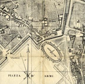 Particolare della Pianta di Milano disegnata da Giovanni Brenna, edita nel 1860 da Antonio Vallardi, con l'Arena sul lato nord-est della Piazza d'Armi.